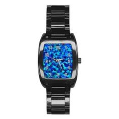 colorful blue rock's Men's Stainless Steel Barrel Analog Watch