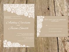 """@Meg Lacey  Do you like lace for your invites? """"Lace Wedding Invitation Suite - customize with your colors - shown in taupe and white. $25.00, via Etsy."""""""