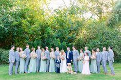 Groomsmen in Gray, Bridesmaids in Sage Green Dresses | Pastel Mint, Coral, Blush + Gold Patriots Point Pavilion Wedding by Charleston wedding photographer Dana Cubbage Weddings