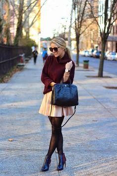 turtleneck sweater, metallic skirt, holiday style, winter fashion