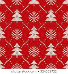 Winter Holiday Seamless Knitting Pattern with a Christmas Trees and Snowflakes. Sweater Design, Winter Sweaters, Winter Holidays, Illustration, Snowflakes, Knitting Patterns, Christmas Trees, Crochet, Art