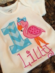 Flamingo Beach inspired birthday shirt and age and colors on Etsy, $22.00