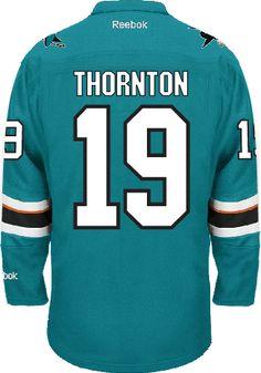 1d08fc2a4 ... Sharks San Jose Sharks Joe THORNTON 19 A Official Home Reebok Premier  Replica NHL Mens ...