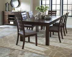 Wiltshire Rustic Pecan Grey Wood Fabric Dining Room Set