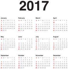 2017 Calendar Transparent PNG Clip Art Image