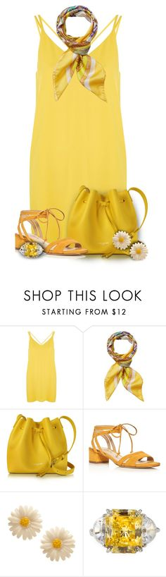 """Yellow Slip Dress"" by rainbowroad96 ❤ liked on Polyvore featuring Topshop, Versace, Lancaster, Via Spiga and Fantasia by DeSerio"