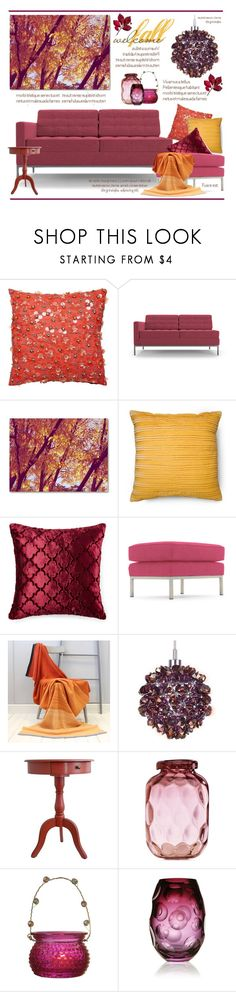 """""""Welcome Fall.."""" by vkevans ❤ liked on Polyvore featuring interior, interiors, interior design, home, home decor, interior decorating, Kate Spade, Joybird, Trademark Fine Art and Schonbek"""