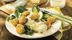 Roasted Caesar Salad with Chicken Croutons