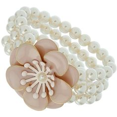 Dorothy Perkins Flower pearl bracelet ($15) ❤ liked on Polyvore featuring jewelry, bracelets, accessories, fillers, rings, pink, pearl bangle, flower jewellery, pink bangles and pearl jewellery