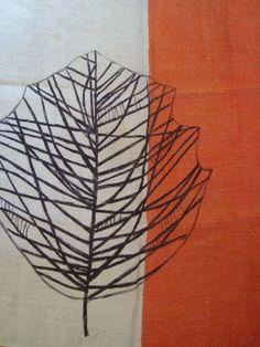 Vintage Lucienne Day Towel Black Leaf