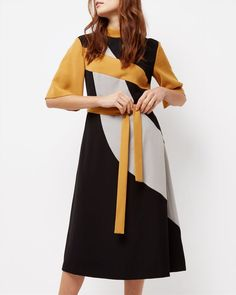 Fit-and-Flare Panel Dress