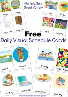 These Daily Visual Schedule Cards are exactly what everyone needs. Perfect for special needs, Autism, children that do best with a visual plan. Organization at home or school with FREE PRINTABLES Tap the link to check out sensory toys! Visual Schedule Printable, Visual Schedule Autism, Daily Schedule Kids, Schedule Cards, Visual Schedules, Free Printables, Daily Routine Chart, Summer Schedule, School Schedule