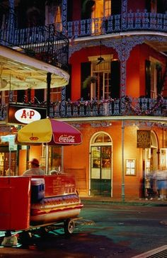 New Orleans - Lucky Dog hot dog carts can be found in the quarter and taste like a steak at 3 am after imbibing for several hours.