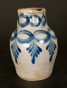 """Sold $7,000 Exceptional Two-Gallon Stoneware Pitcher with Elaborate Cobalt Decoration, Stamped """"H.C. SMITH / ALEXA. / D.C.,"""" circa 1830, highly ovoid pi..."""