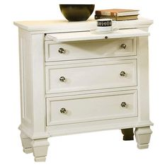 Barb, another pull out nightstand. Found+it+at+Wayfair+-+Glenmore+3+Drawer+Nightstand+in+White