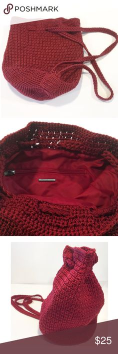 """The Sak crocheted Backpack shoulder bag The Sak crocheted Convertible Backpack shoulder bag is hand-crocheted and can be worn as a backpack, over the shoulder, or a short cross body.  Features * 11""""L x 8""""W x 10 1/2"""" D, Drop: 15 3/4"""" * Wall zipper pocket on interior lining * Draw string closure Colors may vary from screen to screen depending on the type of light. Measurements are in photos. Previously owned with normal wash wear. NO holes or stains. Thanks for looking!  A19 The Sak Bags…"""