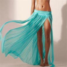 Mermaid Maxi Skirt with Slits Aqua | Sassy Dove