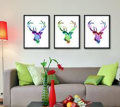 Cerf Art impression réglée, achetez 2 Get 1 FREE!!!, aquarelle peinture, Home Decor peinture aquarelle, Art animalier (59)