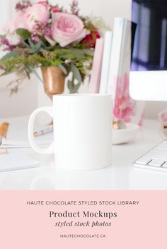 Feminine styled mockups featuring mug mockups, card mockups, invitation mockups, wedding suite mockups, and print mockups with frames from the Haute Chocolate Styled Stock Library