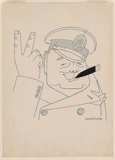 "This caricature by the Mexican artist Miguel Covarrubias features Churchill's characteristic ""V-for-Victory"" gesture, together with his ever-present cigar. The drawing appeared in the January 10, 1942, issue of the New Yorker."