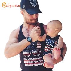 Summer 2016  Family Matching Outfits T-shirt Vest  Family Look Tees America Flag Father Son Clothes Family Set Sleeveless tShirt