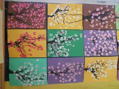 Thèmes d'école: Printemps - Arbre en fleurs Spring Art Projects, School Art Projects, Art School, Flower Crafts, Flower Art, Diy For Kids, Crafts For Kids, Creative Kids, Beautiful Artwork