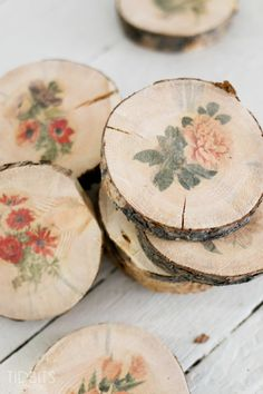 Botanical Wood Slices  Transferring botanical prints onto these cute coasters will add a pretty, vintage flair to any dining room table.  Get the tutorial at Ella Claire Inspired.