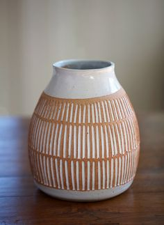 mt. washington pottery - glaze applied within incisings