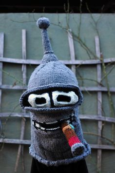 """Bender, yarn, 14"""" x 15"""", 2010 (commissioned) Creepy sci fi and horror inspired custom knitting by Tracy Widdess"""