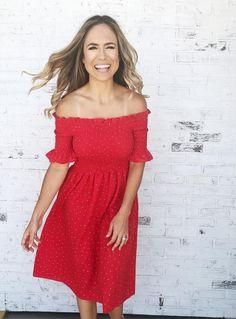 Alexis. Red and white polka dot print off the shoulder midi Spring dress. Spring dress. Midi dress. Off the shoulder dress.