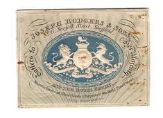 Very Rare William IV Trade Card of Joseph Rodgers & Sons, No 6, Norfolk Street, Sheffield and The Royal Exchange. Congreve Security and Embossed Printing by Charles Whiting of London.