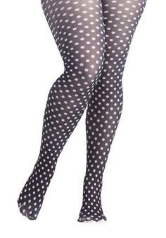 Take It From the Dot Tights in Plus Size by Look From London - Black, Polka Dots, White, Winter