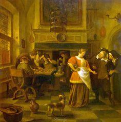 Jan Steen, 1626-1679, Dutch Стен, Ян Сцена в кабачке