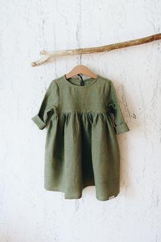 Детское льянное платье