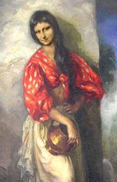 I simply adore this rendition: Mona con Blusa Roja Monnalisa Kids, Mona Lisa Images, Mona Lisa Parody, Mona Lisa Smile, Classic Artwork, Louvre, Italian Artist, Many Faces, Art World