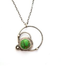 Green Mojave Turquoise and Sterling Silver Necklace by ErinAustin