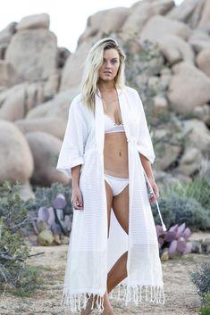 Beachwear Fashion, Boho Fashion, Bohemian Style, Boho Chic, White Kaftan, White Dress, Bikinis For Sale, Bikini Cover Up, Resort Wear