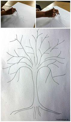 sådan tegner man et træ til fingeraftrykstræ ide til fester Rock Crafts, Diy And Crafts, Sun And Moon Drawings, Diy Fest, Diy For Kids, Crafts For Kids, Barn Wood Crafts, Honeycomb Paper, Family Tree Wall