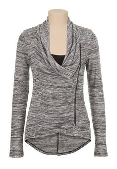 High-low asymmetrical zip front slub knit Top (original price, $29) available at #Maurices