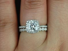 Bezel wedding band and halo engagement ring Catalina 6.5mm & Petite Bubbles 14kt Gold Cushion FB by RosadosBox