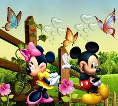 Mickey and Minnie Mouse Mickey Mouse Characters, Walt Disney Characters, Mickey Mouse Art, Mickey Mouse And Friends, Minnie Mouse Pictures, Disney Pictures, Looney Tunes Wallpaper, Disney Frames, Animated Cartoons