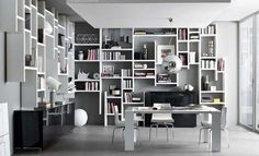 interesting shelving solutions - wall hung & off the floor library (image credit: Crossing Misura Emme) Shelving Solutions, Shelving Systems, Bookcase Shelves, Unique Bookshelves, White Bookshelves, Book Shelves, High Walls, Wall Storage, Wall Shelving