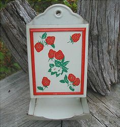 Vintage White Tin Match Holder With Strawberry Design. $12.00, via Etsy.