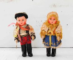 Vintage Czechoslovakia Folk DOLLS Antique Traditional Boy and Girl.