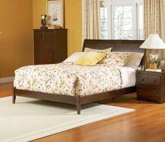 Bordeaux Antique Walnut Solid Wood Queen Sleigh Bed w/Open Foot Rail