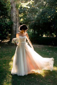 Lovely wedding dress and photo! Photo by Ryan Scott.