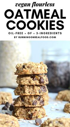Flourless Peanut Butter Banana Oat Cookies - Just 3 Ingredients! Oil-free, vegan, gluten-free, on added sugar and so easy to make. Customize with your favourite add-ins.