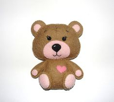 Wool Felt Brown Bear Ornament, Girl Bear, Felt Bear, Kidsroom Decor, Nursery, Baby Mobile, Wall Decor, Baby Shower Gifts, Birthday Gift