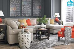 neutrals and coral living room