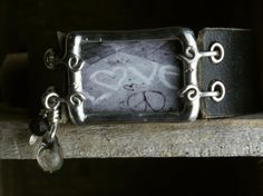 Peace and Love Graffiti Soldered Bracelet with by jennibjeweled, $30.00